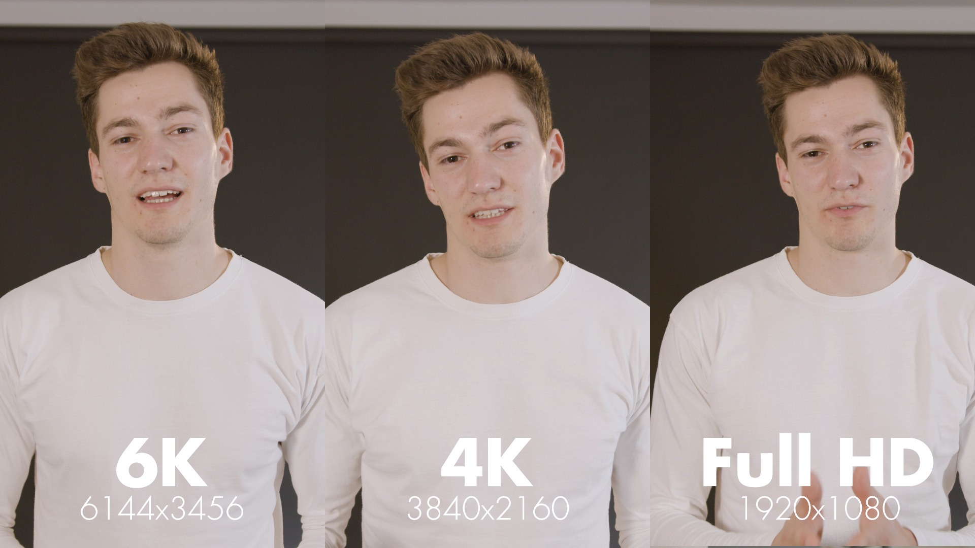 Comparison Video 6K 4K Full HD